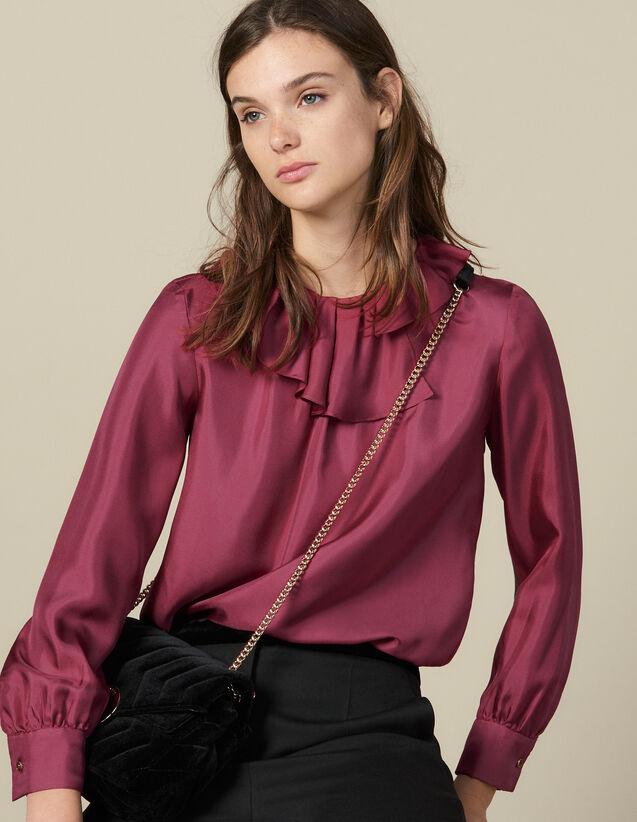 Top En Soie À Collerette Asymétrique : Tops & Chemises couleur Fuchsia