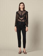 Top en dentelle à volants : Tops & Chemises couleur Noir