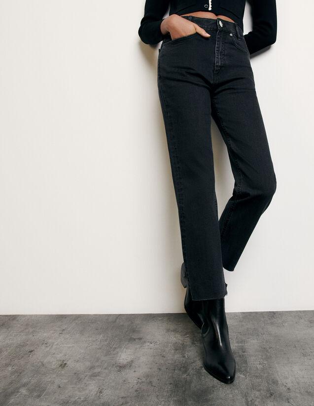 Jean droit à bords francs : Collection Été couleur Black - Denim