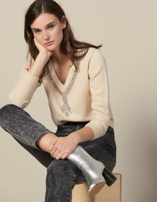 Pull À Encolure Ornée De Bijoux : Pulls & Cardigans couleur Beige
