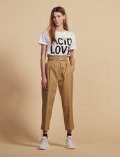 Pantalon Taille Haute Ceinturé : Pantalons couleur Beige