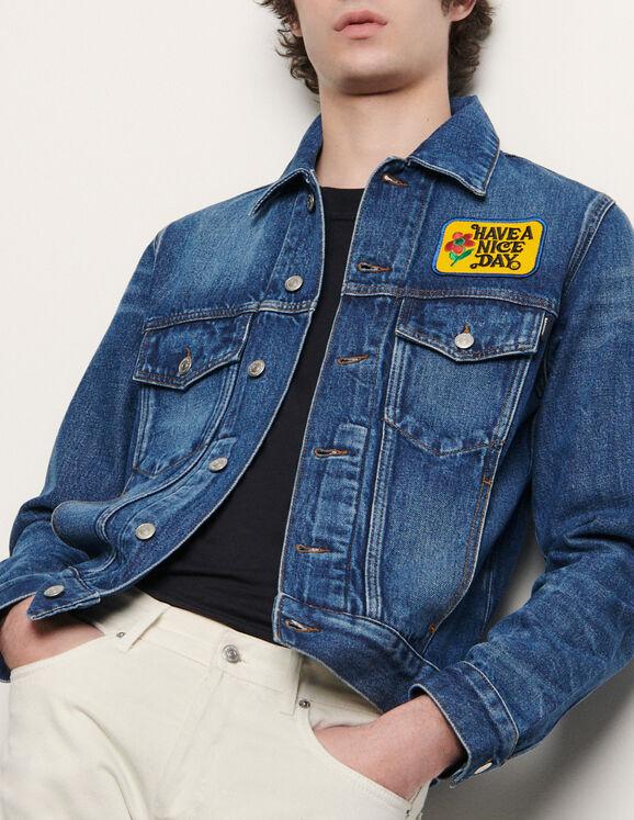 Veste en jean avec patch brodé : Blousons & Vestes couleur Blue Vintage - Denim