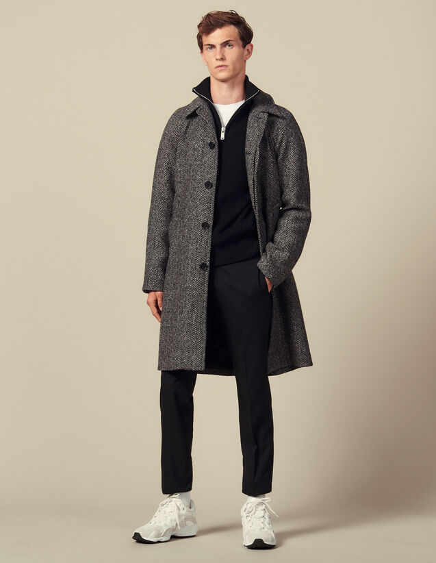 Manteau Avec Ceinture : Trenchs & Manteaux couleur Noir/Gris