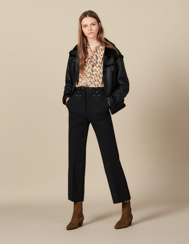 Pantalon à ceinture ornée de studs : Pantalons couleur Noir