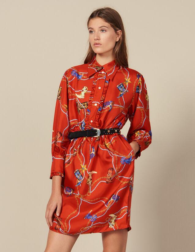 Robe courte en twill de soie imprimée : Robes couleur Rouge