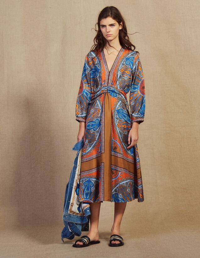 f73110b01868 Robe longue imprimée en soie   Robes couleur Multicolore