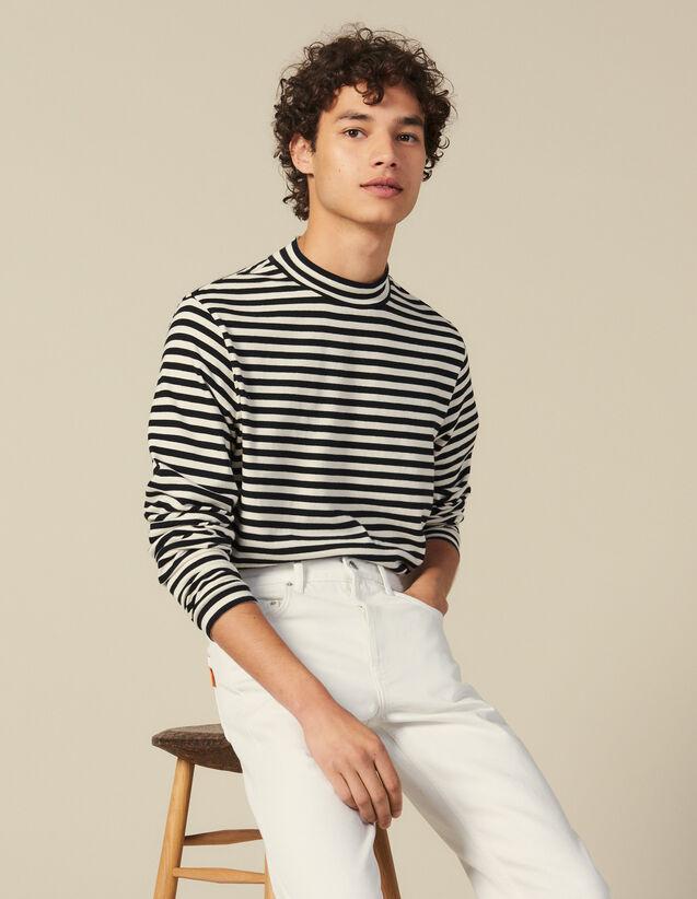 T shirt rayé à col cheminée : T-shirts & Polos couleur Noir/Ecru