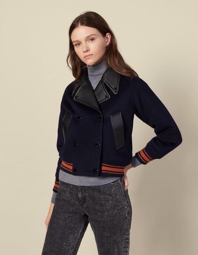 Blouson court en laine : Manteaux couleur Marine