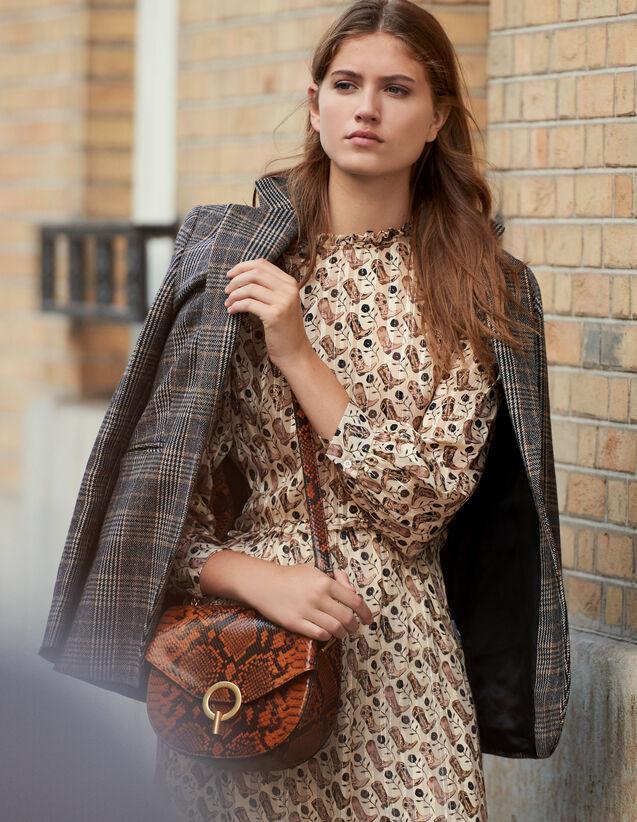 Robe Midi En Soie Lurex Imprimée : -30% couleur Beige