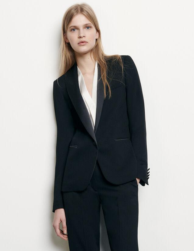 Veste de smoking à empiècement satin : Blousons & Vestes couleur Noir