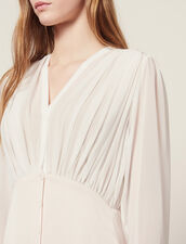 Robe Longue Asymétrique Bi-Matière : Sélection Last Chance couleur Rose pâle