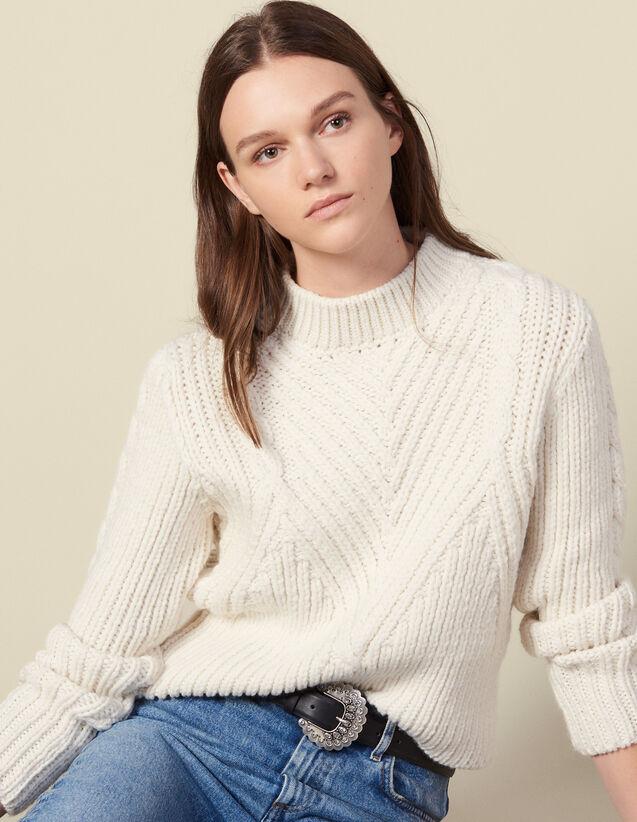 Pull en laine à grosse maille : Pulls & Cardigans couleur Ecru