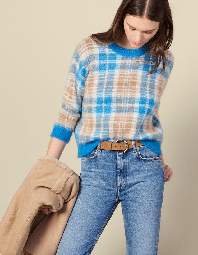 Pull effet poilu en jacquard carreaux : Pulls & Cardigans couleur Ciel