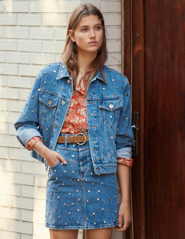 Veste En Jean Ornée De Studs : Blousons & Manteaux couleur Bleu jean