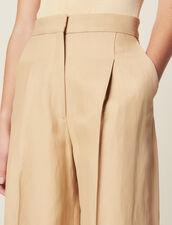 Pantalon Large À Pinces : Pantalons couleur Beige