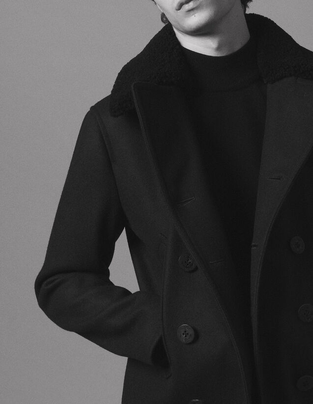 Manteau en drap de laine esprit caban   Trenchs   Manteaux couleur Marine d85a6614478