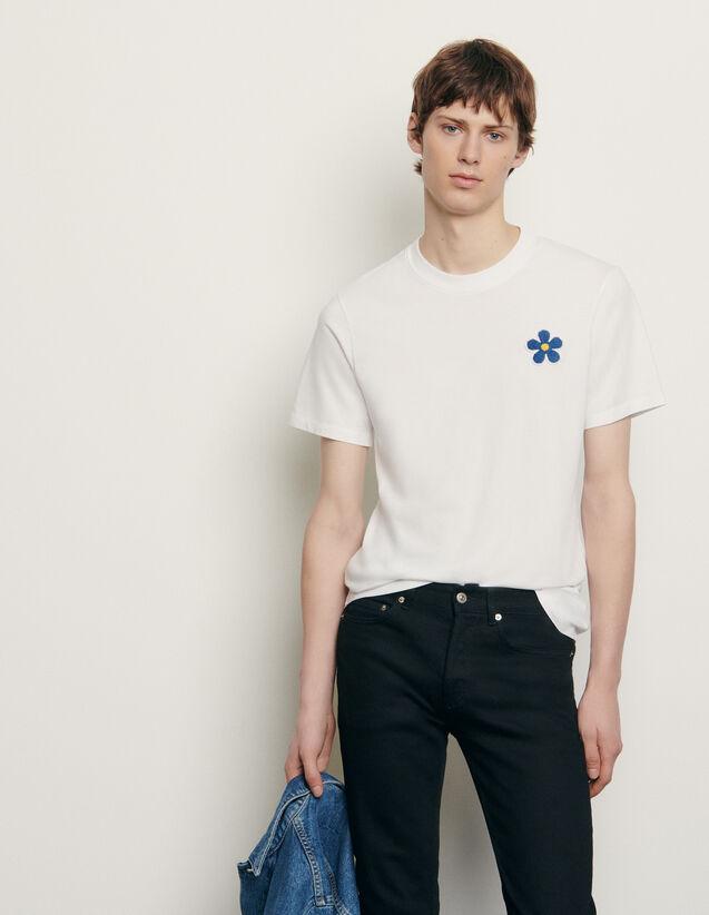 T-shirt en coton avec patch brodé : T-shirts & Polos couleur Noir