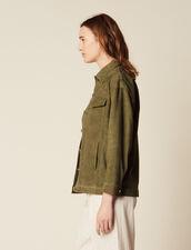 Veste Style Sur Chemise En Cuir : Blousons & Vestes couleur Kaki