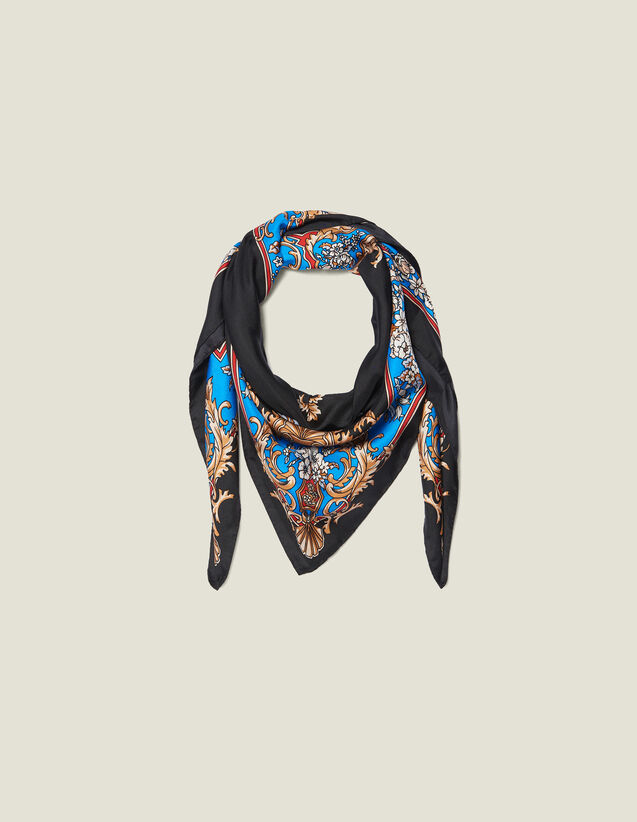 Foulard en soie à imprimé baroque : Toute la collection Hiver couleur Noir