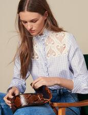 Chemise à  carreaux et col montant : Tops & Chemises couleur Ecru