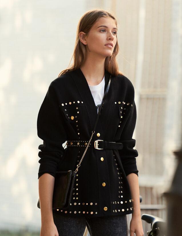 Cardi Coat Orné De Studs : Pulls & Cardigans couleur Noir