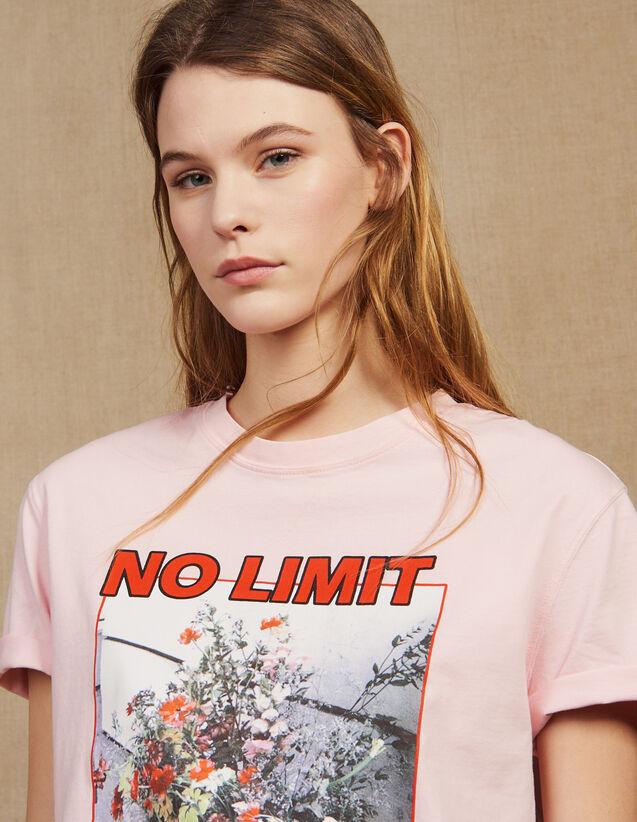 T-Shirt À Message Avec Iconographie : LastChance-CH-FSelection-Pap&Access couleur Rose