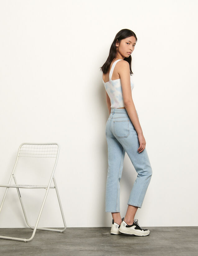 Jean stretch 5 poches : Jeans couleur Bleached - Denim