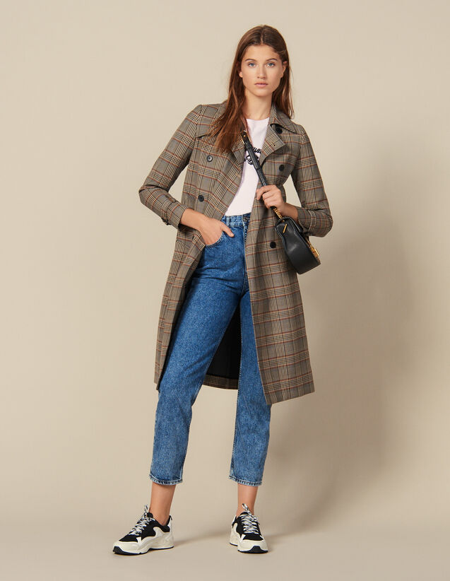 Trench-coat à carreaux : Blousons & Manteaux couleur Multicolore