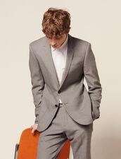 Veste De Costume En Laine Piquée : -40% couleur Gris Clair