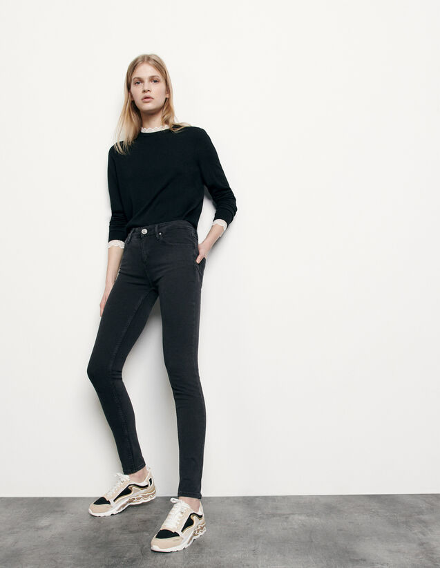 Jean slim taille normale : Jeans couleur Noir