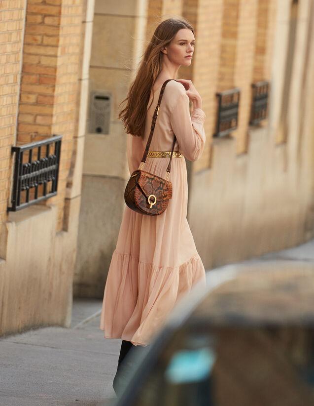 Robe Longue Plissée À Manches Longues : Robes couleur Chair