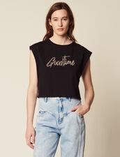T-Shirt Court À Message Brodé De Perles : T-shirts couleur Noir