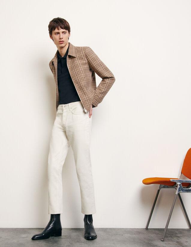 Blouson à carreaux fantaisie : Blousons & Vestes couleur Beige