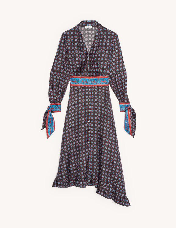 Robe longue en soie imprimée : Robes couleur Noir