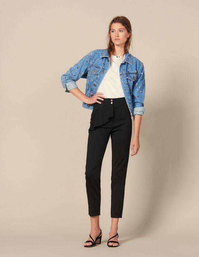 Pantalon Fuselé À Basques : New in couleur Noir