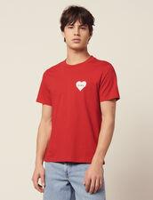T-Shirt En Coton Avec Cœur Floqué : Sélection Last Chance couleur blanc