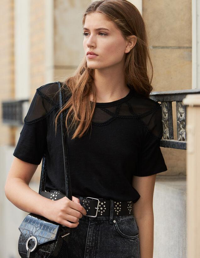 T-Shirt À Empiècement Transparent : T-shirts couleur Noir