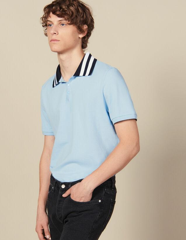 Polo En Coton Avec Col Rayé : Toute la collection Hiver couleur Bleu Ciel