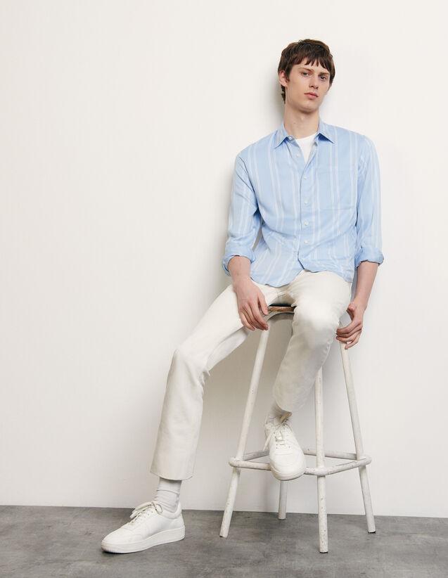 Chemise fluide rayée : Chemises couleur Bleu
