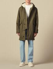 Parka en coton doublé en faux mouton : Trenchs & Manteaux couleur Marine