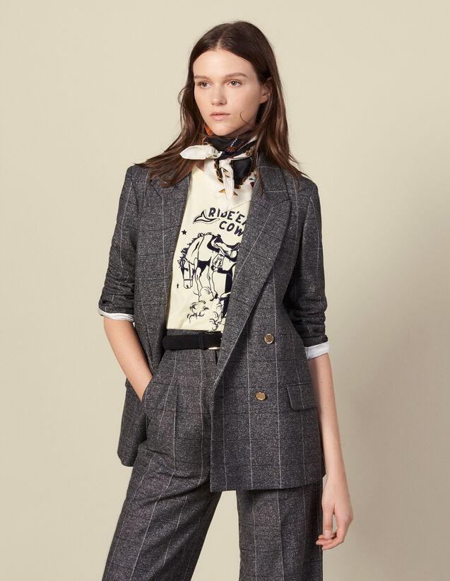 Veste de tailleur à carreaux : Blousons & Vestes couleur Gris