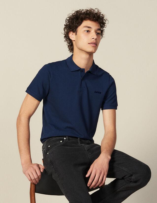 Polo En Coton À Message : Nouvelle Collection couleur Bleu