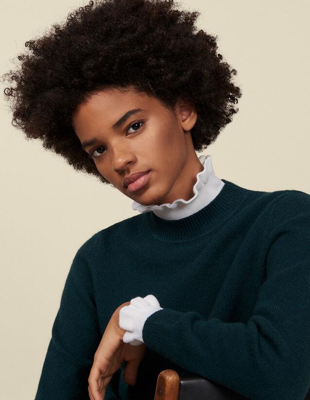 Pull à col et poignets contrastants : Pulls & Cardigans couleur Vert