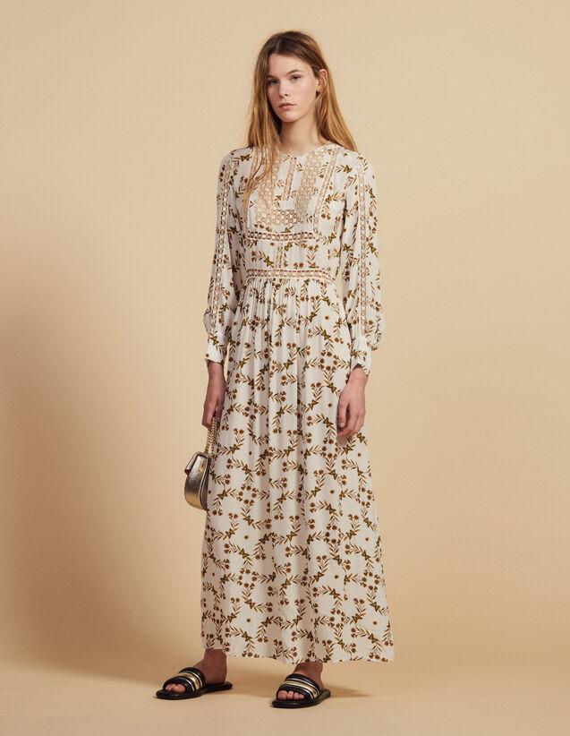 Robe Longue Fluide Imprimé Papillons : Robes couleur Ecru