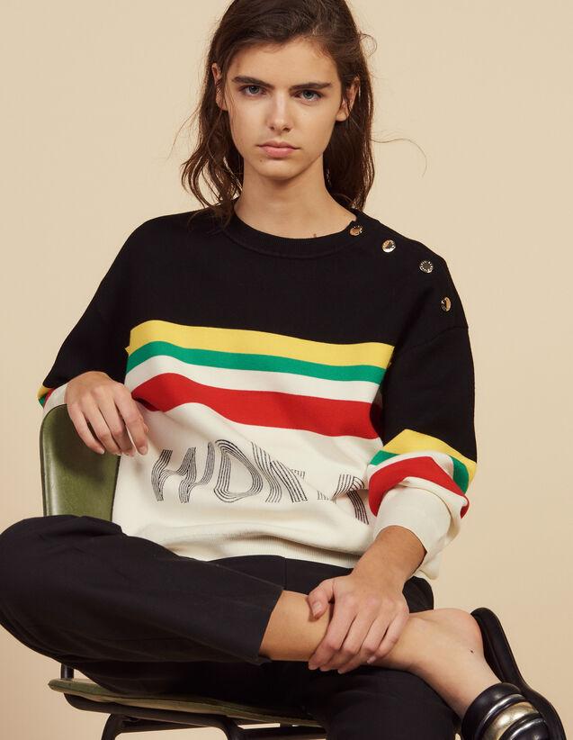 Pull À Rayures Multicolores Et Message : Pulls & Cardigans couleur Noir