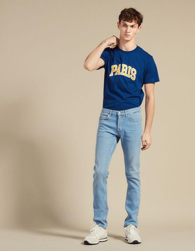 Jean Délavé À La Coupe Étroite : Jeans couleur Blue Vintage - Denim