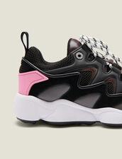 Baskets Mix Matières : Chaussures couleur Noir