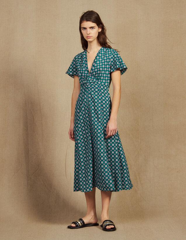 131137c1645af Robe Fluide Imprimée À Manches Courtes   Robes couleur Vert