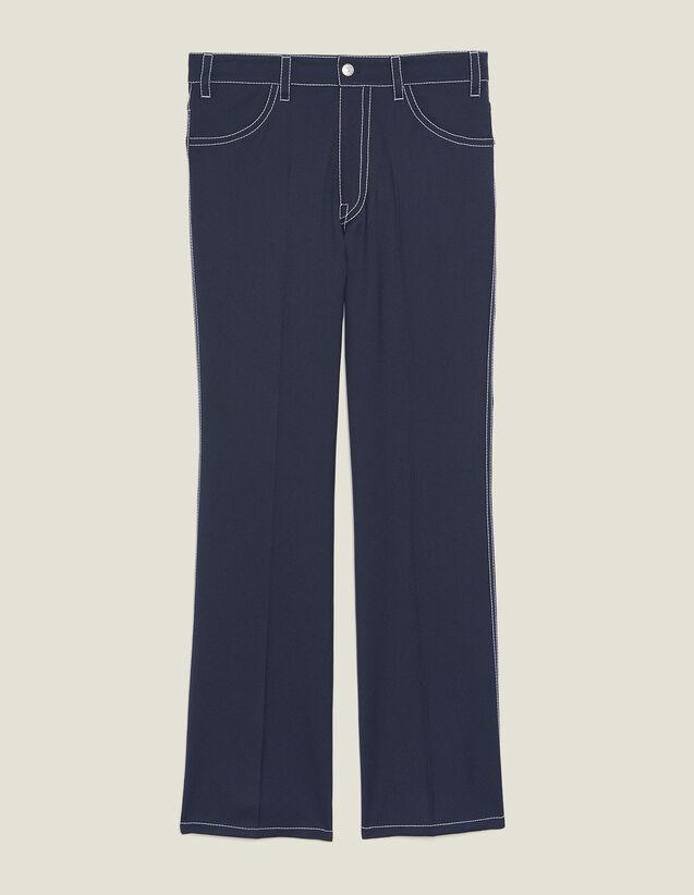 Pantalon Avec Surpiqures Contrastées : Pantalons & Shorts couleur Marine