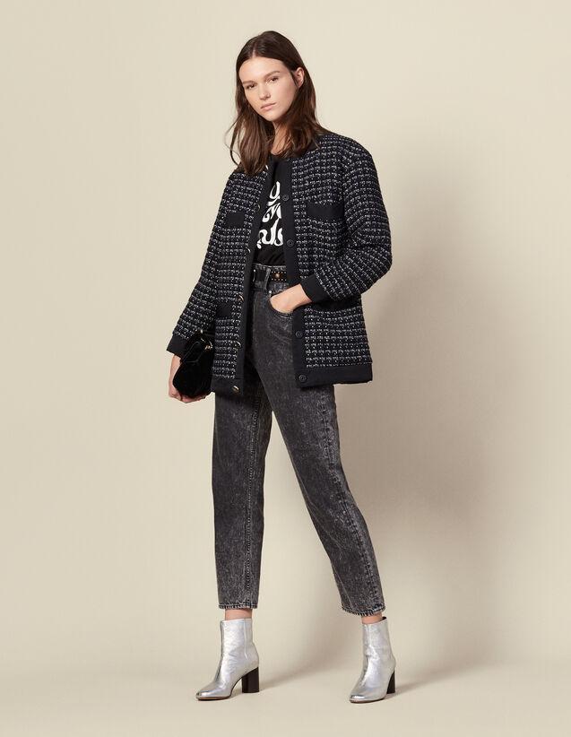 Blouson over size en tweed matelassé : Blousons & Vestes couleur Marine